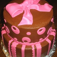 "Jennifer's Bridal Shower Cake   This was for my sister-in-law's bridal shower. 8"" Strawberry and 10"" Chocolate WASC cake. Chocolate BC with mmf accents"