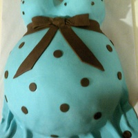 Blue Belly Cake   WASC cake w/ raspberry filling and vanilla BC covered in MMF. Thanks for looking!!!