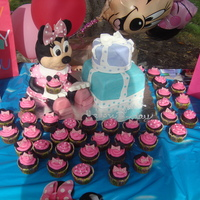 Minnie Mouse Cake minnie mouse made out of red velvet cake and cream cheese filling and RKT... chocolate cupcakes topped with chocolate buttercream and the...