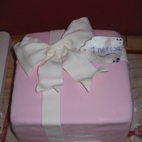 "Bridal Gift Present cake for a bridal shower. 8"" square cake covered in Satin Ice fondant."