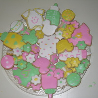 Baby Shower Cookies Rattles, bottles, onesies, ducks and mini-flowers for a baby girl's shower