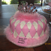 "Princess Cake A birthday cake done for a friend's daughter's 5th birthday. Iced in buttercream with fondant ""diamonds"""