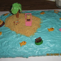Bear Island Simple cake to do, but is very well received. Island is graham cracker crumbs, mini teddy grahams for the bears, the tree was horrid to do...