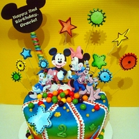 Mickey Mouse  Edible image cutouts used for characters and black Mickey Mouse cutout, balls are gobstoppers, cake was airbrushed,fondant, edible markers...