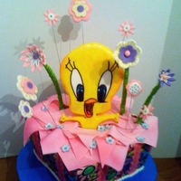 Tweety Bird Gift Box Cake I covered this cake with edible frosting sheets, pink ribbon strips have daisies imprinted on them with a stamp although it's not...