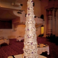 Heath & Jackie's Wedding Cake The cake was 8.5 feet tall, decorated with more than 2,700 hand painted sugar flowers.Each cake layer is covered in fondant with damask...