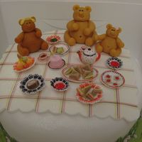 Teddy Bear's Picnic First cake decorating project at my cake dec class. Fruit cake with royal icing.