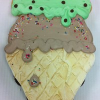 Ice Cream Cone Cupcake Cake 24 Cupcakes, All Buttercream. A double scoop Waffle Cone of Chocolate with Rainbow sprinkles and Mint Choc. Chip topped with whip and a...