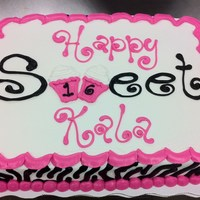 Sweet 16 Cake In Zebra And Pink 1/2 Sheet Chocolate Cake, All Buttercream Icing. This is not my design, the customer found this design online and I merely copied it. I...