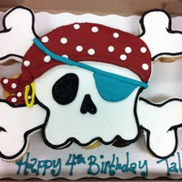 Pirate Skull Cupcake Cake 25 Cupcakes, All Buttercream. Pirate themed parties are so popular right now! I made my usual, just in slightly different colors...TFL!