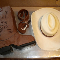 Western Style Fun cake to make. Special thanks to all on CC who have made hat & boot cakes.