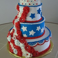Red White And Blue Extravagance  This was my final project for the master course at the Wilton School of Cake Decorating in Chicago. 3 tier styrofoam cake with royal icing...