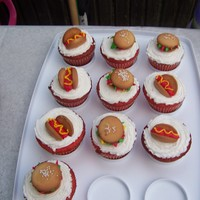 Cupcakes   Burgers & Dogs on top of cupcakes the kids loved them
