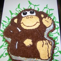 Monkey Cake I made this cake for my granddaughters 8th Birthday.The cake was banana (what else)