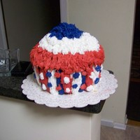 July 4Th   This a giant cupcake for the 4th of july party.
