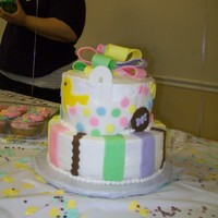 Baby Shower Cake   bc with fondant accents ... strawberry and vanila cake