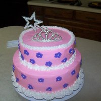"Pink And Purple Princess Cake   10"" and 8 "" BC cakes and royal icing flowers ... bought the tiera and wand"