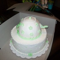 "Teapot Cake   10"" cake and used the ball pan for the teapot and covered it in mmf"