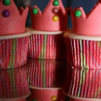 "Princess Crowns Princess crown cupcakes that I made for my daughter's 7th birthday. She helped by putting on the candy ""jewels""."