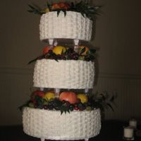Tiered Fresh Fruit Basketweave Cake