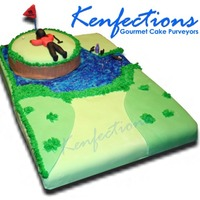 Tiger Woods Golf Cake  The fairway is golden vanilla cake covered in our secret recipe butter cream icing and topped with fondant as well as piping gel. The...