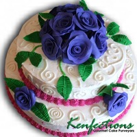 Roses & Roses  This cake was designed for a new client who is hooked on our cakes for not only the flavor, but the design. Chocolate cake with Raspberry...