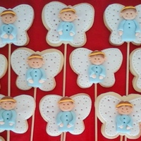 Angel Cookies   butter cookies on a stick, decorated with fondant..
