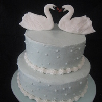 Swan Cake BC with fondant swans.