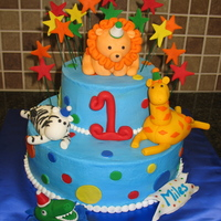 Party Animals This cake was done for a 1st birthday party with cupcakes and cookies to match. The Mom provided me with a design she found and I based the...