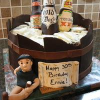 30Th Birthday Bucket Of Beer This was for my husband. A double layer chocolate cake with chocolate ganache. The beer barrel and bottles are modeling chocolate. The &#...
