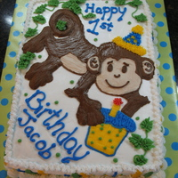 First Year Monkey Sheet cake 1/2 choc & 1/2 wt for a friend's child. All BC. Monkey free handed and transferred with dec gel