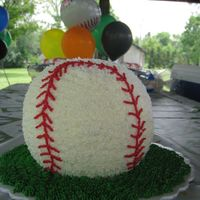 3D Baseball Cake With Cupcakes To Match! This is a 3D wilton baseball cake for my nephew's 4th birthday. He had a big party and we needed enough for 60 people so I also made...