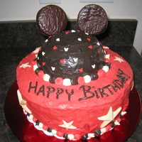 Mickey Mouse Cake Mickey Mouse Cake with chocolate stars and buttercream icing.