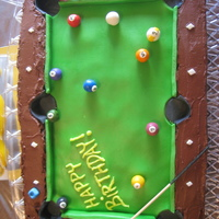 Pool Table Pool table is a mix of chocolate icing and fondant. Pool balls are made out of fondant. Pool stick is a skewer.
