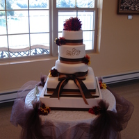 "Fall Theme Cake This cake consists of a xtall 6"", 8"", 10"" and a 14"" square cake"