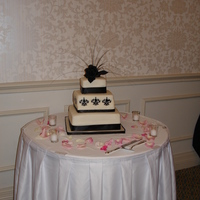 Damask Cake I stenciled the damask design on to the cake and made the topper