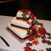 Fall Leaft Cake Off set each layer and covered in fake leaves