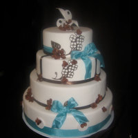 Teal And Brown Dummy cake for my bridal show. First time using the Cricut machine. of course after watching Linda McClure DVD.Gum past hydrangeas and I...