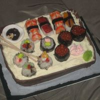 Sushi Cake Birthday cake for father and daughter sharing the same birthdate, they both love Sushi.The ingredients:Sticky rice made with sushi rice and...