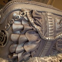 Bebe Silver Ruffled Handbag This is a replica of a customers actual handbag. Airbrushed with silver metallic luster.