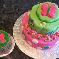 Butterfly Cake With Matching Smash Cake Butterfly cake made for a one year old with matching smash cake