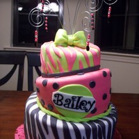 Pink, Green And Zebra Striped Cake With Wire Topper