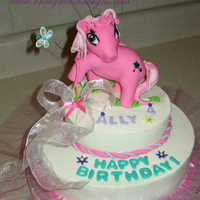 Ally's My Little Pony Cake Ally's favorite is Pinkie Pie. Chocolate cake with buttercream icing. Pony is MMF and gumpaste.