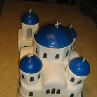 "Santorini Church My entry for a ""building"" cakes challenge. It os a typical church from the greek island Santorini, I've wanted to do a cake..."