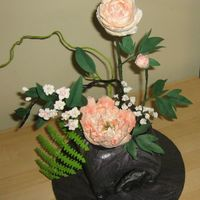 Ikebana This is the cake I made for the august 2009 Ikebana challenge at www.bg-mamma.com. Pink, or actually peach peonies and cherry blossoms....