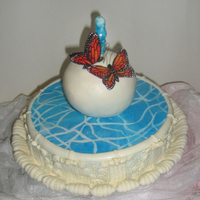 Fontain Of Love Chocolate cake/ganache, MMF, gumpaste butterflies. TFL :)!