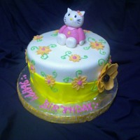 Hello Kitty Cake   Fondant covered! Gumpaste kitty and flower. I was sad I smeared the whiskers :(