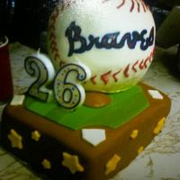 Atlanta Braves Mini Field Cake   The Ball is made from rice crispy treat. Finished in fondant!