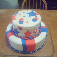 July 4Th Cake My first tierd cake. All in Mm fondant. Red velvet, white cake layerd. 12in round bottom and 8in round top. Thanks for looking.