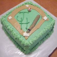 Baseball B-Day Cake This is my 2st buttercream cake. It does have mm fondant in the brown base runs ( can't think of what the name for those are), bat,...